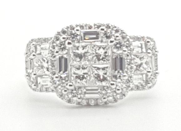 WHITE DIAMOND MOSAIC RING