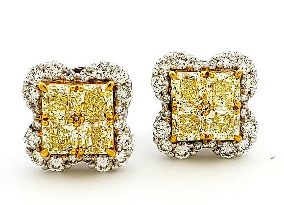 YELLOW DIAMOND MOSAIC EARRINGS