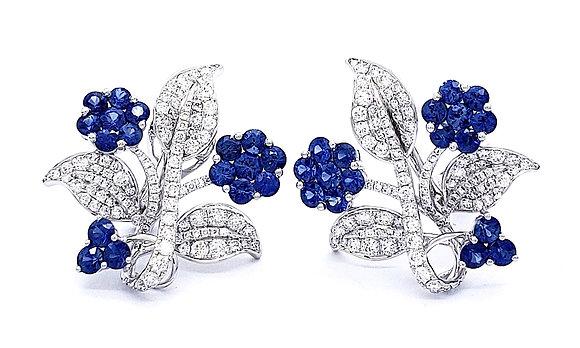 SAPPHIRE AND DIAMOND FLOWER EARRINGS