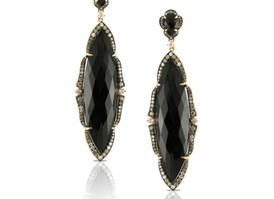 BLACK ONYX AND WHITE DIAMOND EARRINGS