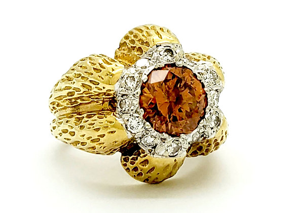 FANCY ORANGE AND DIAMOND RING