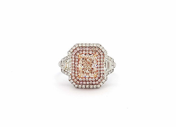 RADIANT PINK AND WHITE DIAMOND RING