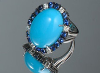 TURQUOISE AND SAPPHIRE DIAMOND EARRINGS
