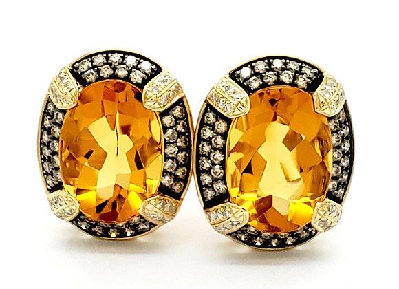 CITRINE AND BROWN DIAMOND EARRINGS