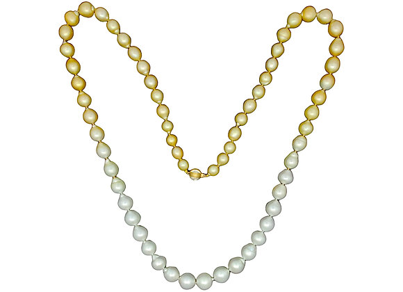 SOUTH SEA GOLDEN AND WHITE BAROQUE PEARL NECKLACE