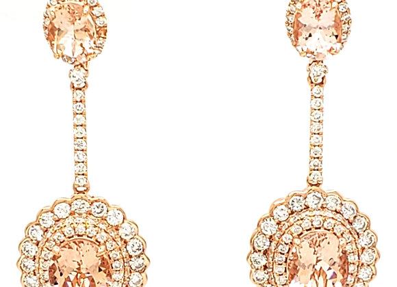 OVAL MORGANITE AND DIAMOND EARRINGS
