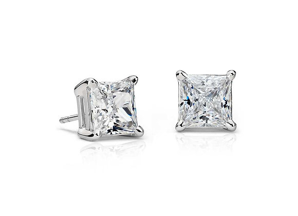 WHITE DIAMOND PRINCESS CUT STUD EARRINGS