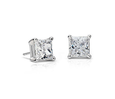 PRINCESS CUT WHITE DIAMOND STUD EARRINGS
