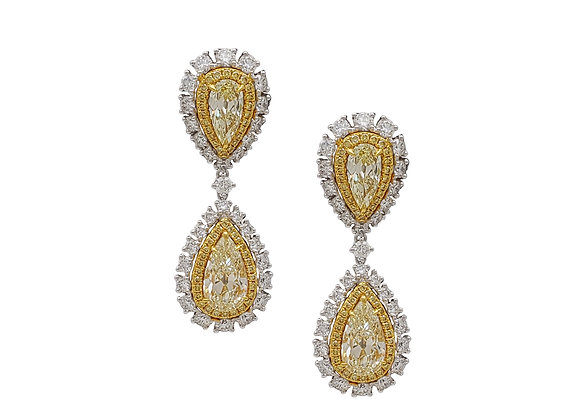 PEAR SHAPE YELLOW AND WHITE DIAMOND EARRINGS