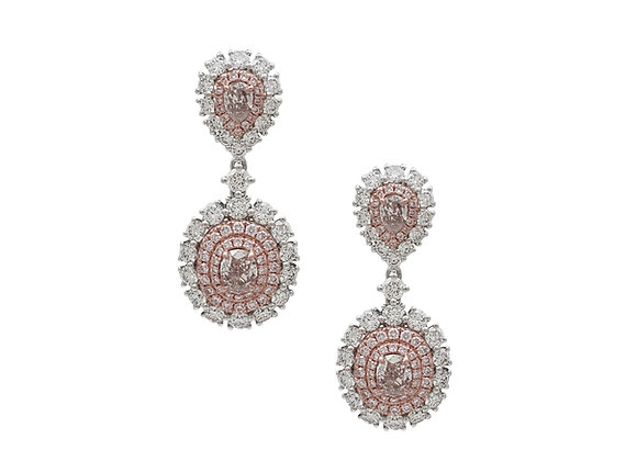 OVAL PINK AND WHITE DIAMOND EARRINGS