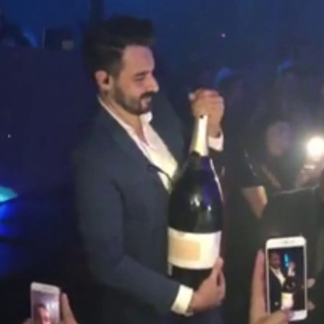 Man drops expensive Champagne in a club Ibiza
