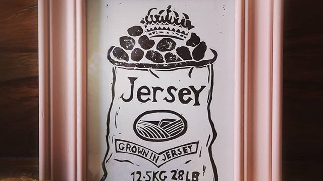 Jersey Royals lino print
