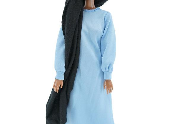 MARYAM NEPTUNE BLUE  Abaya + Loose Faux Leather Leggings