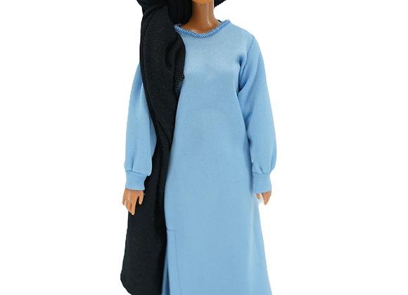 AMIRA NEPTUNE BLUE Abaya + Leggings de piel sintética modestamente holgados
