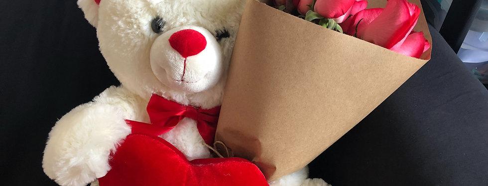 M70/Peluche con 12 rosas solas