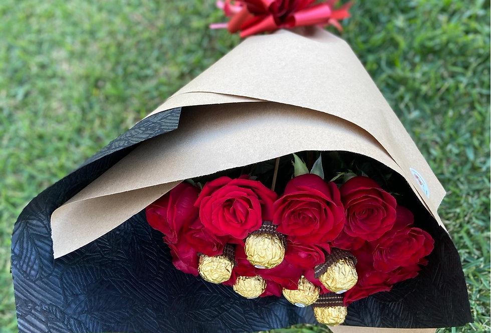 24 rosas y 6 chocolates