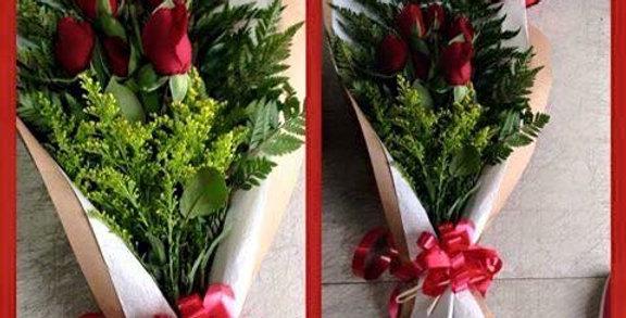 M27/Ramo acostado con 6 rosas y globo