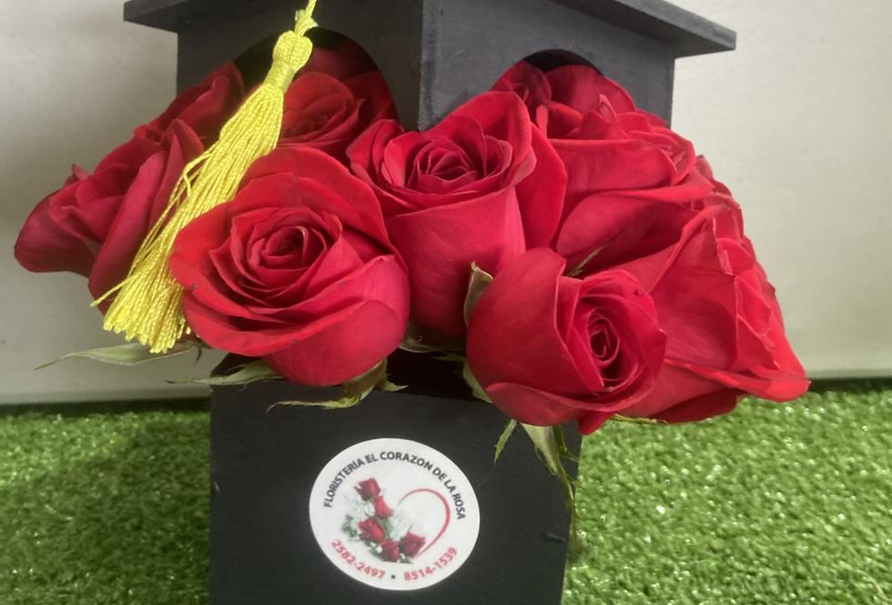 Cajita de graduacion  24 rosas