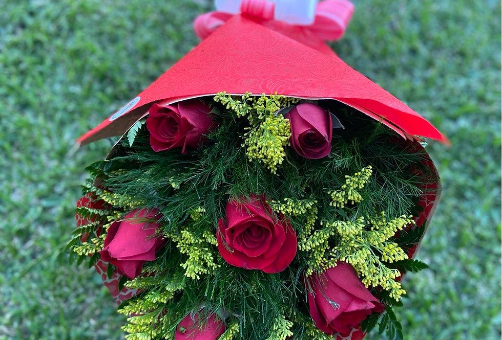 Ramo de 6 rosas decorado