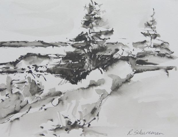 Monhegan Trees Hugging Rocks