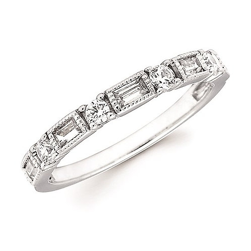 Baguette & Round Diamond Stackable Band