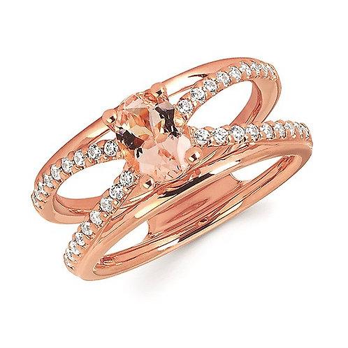 Diamond And Morganite Fashion Ring