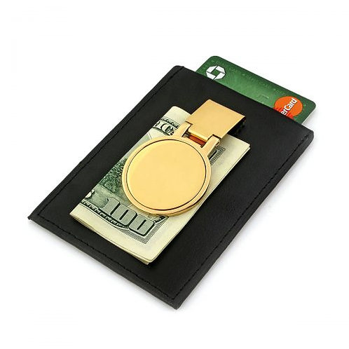 Gold Money Clip with Leather Card Holder