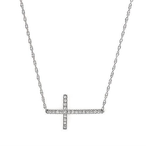 Sideways Diamond Cross Necklace
