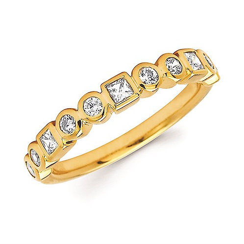 Round & Princess Diamond Stackable Band