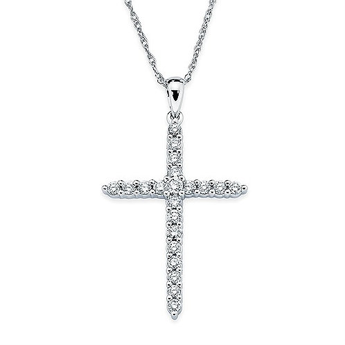 Prong Set Diamond Cross Pendant
