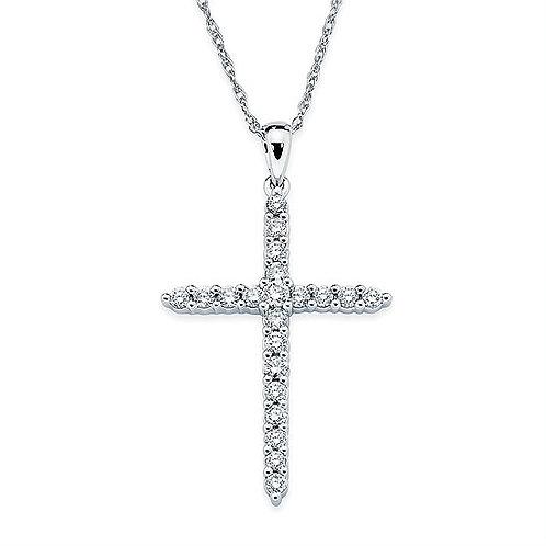 Prong Set Diamond Cross Pendant