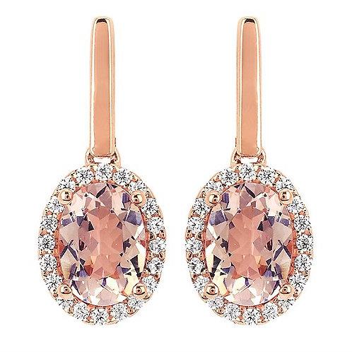 Diamond and Morganite Drop Earrings
