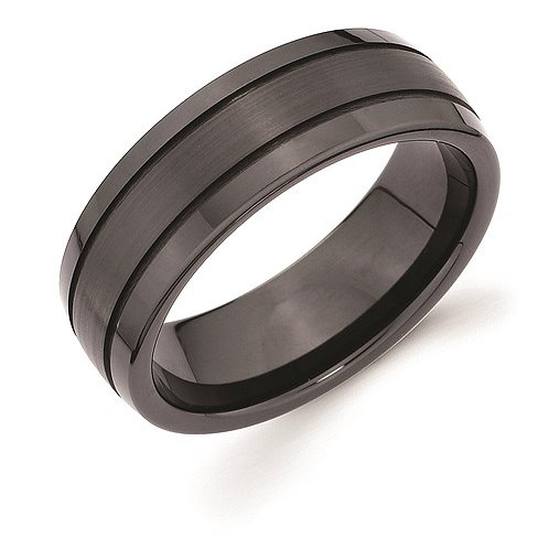 Black Ceramic Band with Double Channel Accent