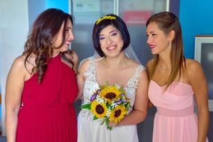 sposa e damigelle, mezza figura, fotografo matrimonio Novara