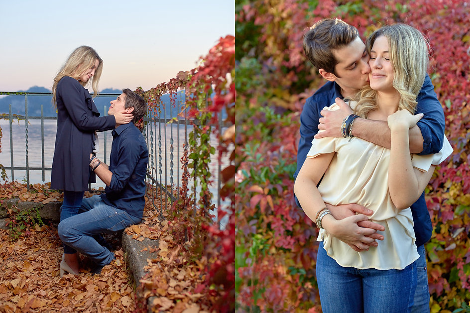 fidanzati che si guardano con amore, fidanzati abbraciati davanti a foglie, fotografo Novara