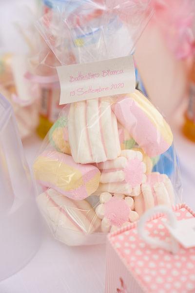 Bomboniera di Marshmallow colorati, toffolette,