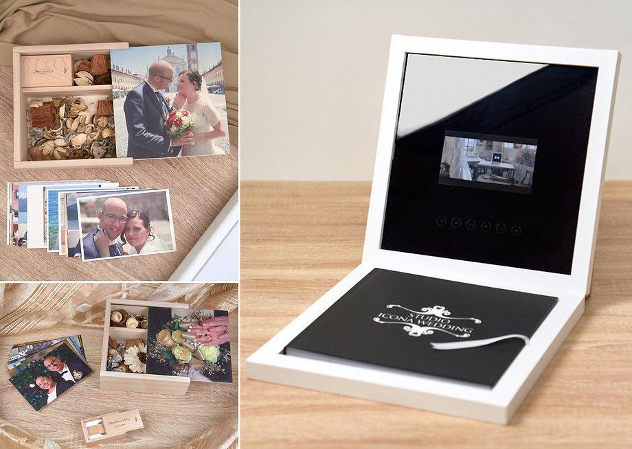 Usb box, stampe, fotolibro e monitor nella confezione, fotografo matrimonio Novara