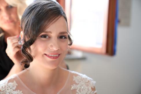 primo piano sposa sorridente, makeup, fotografo matrimonio Novara