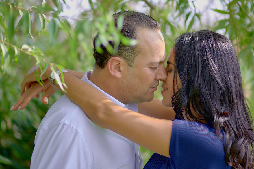 Fidanzati abbracciati tra le foglie verdi, fotografo matrimonio Novara,