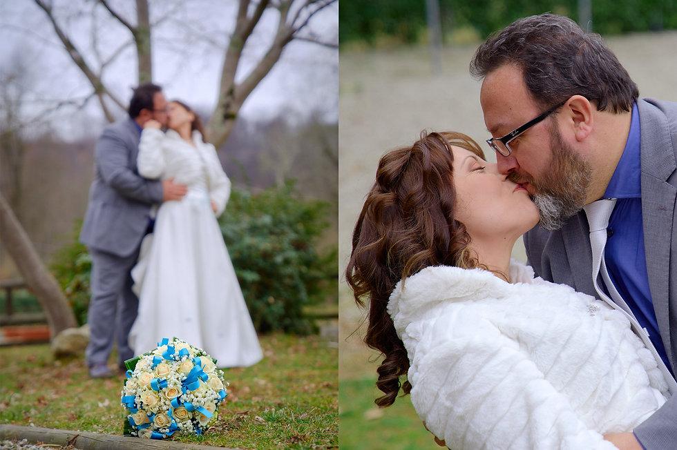 sposi che si baciano sfocati con bouquet, sposi che si baciano in primo piano, fotografo Novara