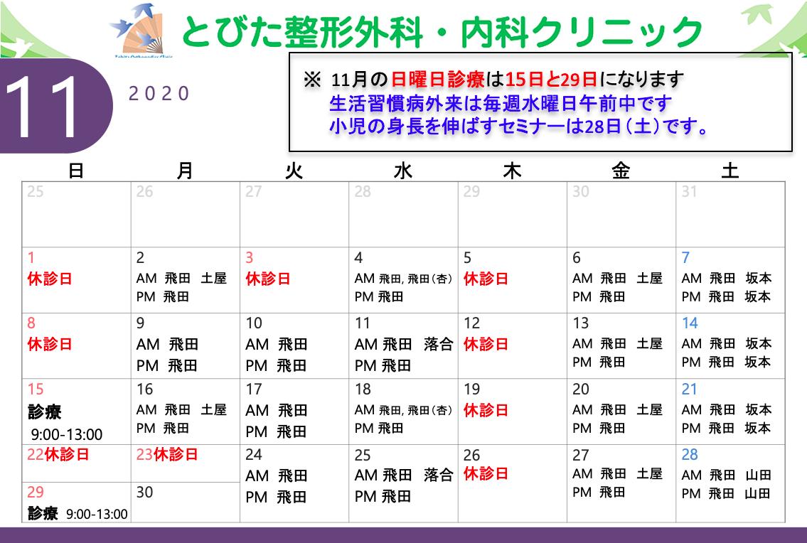 11月診療予定表