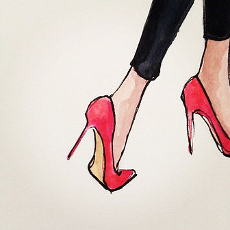 Drawing of red high heel pumps walking out of the picture