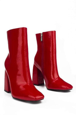 Patent Bootie with Thick Heel - RED _ 10