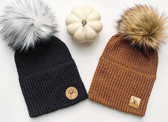 Double Brim Knit Toque with Pom Pom