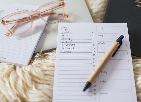 Meal Plan & Grocery List Notepad