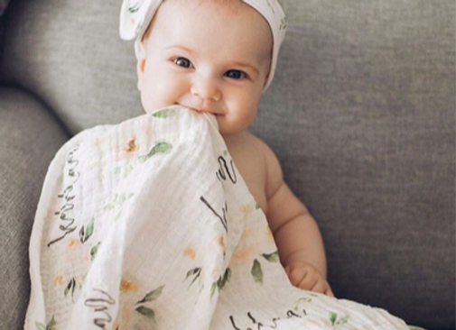 Blush Floral -Personalized Organic Muslin Swaddles