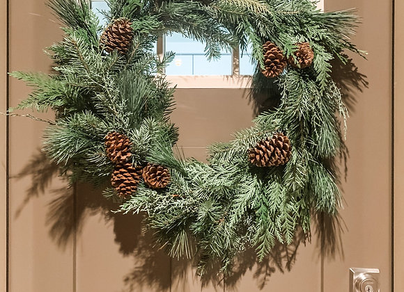 FRESH Winter Wreath with Pinecones
