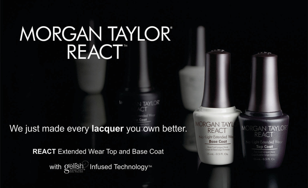 Breakthrough shine and wear without investing in an entirely new color line! Patent-pending Gelish Infused Technology bonds with nail lacquer for up to 10-days of wear. Our REACT Base Coat provides radical color adhesion, while REACT Top Coat seals the deal with chip resistance that outshines the rest!