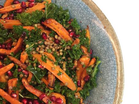Warm Winter Salad  with Cumin Roast Carrots