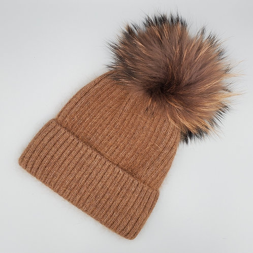 Ribbed Wool Hat with Fur Pom
